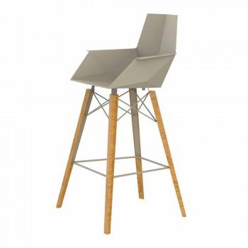 Barová stolička s područkami ve dřevě a plastu různých barev - dřevo Faz od společnosti Vondom