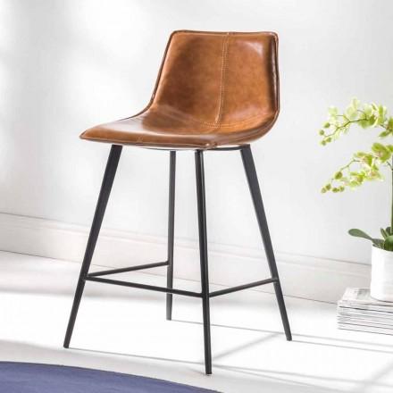 Stolička na 4 nohy, H 65 v eko-kůži a černá základna - Ovidio