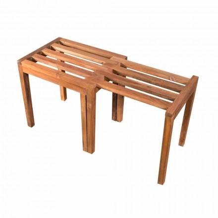 Nízká výsuvná stolička v přírodní povrchové úpravě z teakového dřeva - Pomino