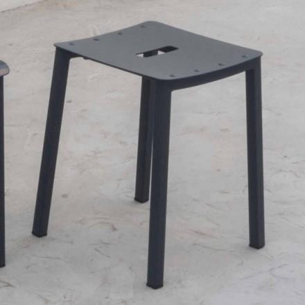Moderní venkovní stohovatelná nízká stolička z hliníku Vyrobeno v Itálii - Dobla