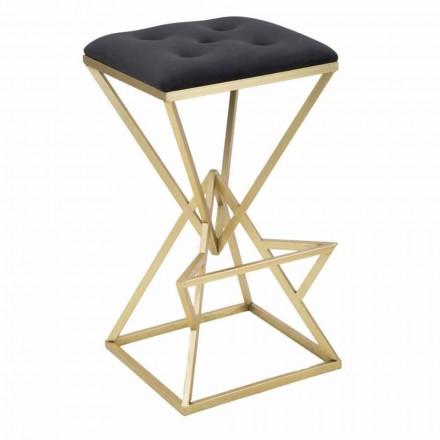 Barová stolička s vysokým čtvercem ze železa a látky - Sillie