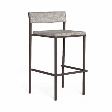 Luxusní venkovní barová stolička z oceli a tkaniny - Casilda od Talenti