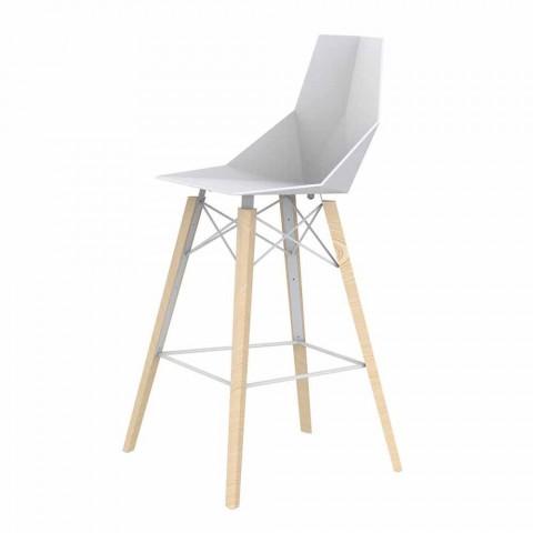 Barová stolička v barvě dřeva a plastu různých barev - dřevo Faz od společnosti Vondom