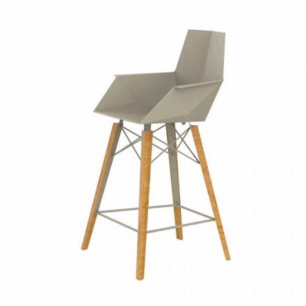 Kuchyňská stolička s područkami ze dřeva a plastu - dřevo Faz od společnosti Vondom