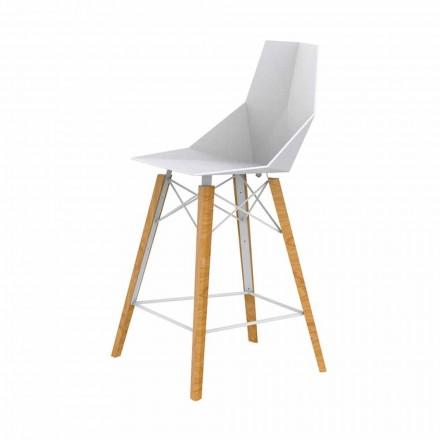 Designová kuchyňská stolička ve dřevě a plastu různých barev - dřevo Faz od společnosti Vondom