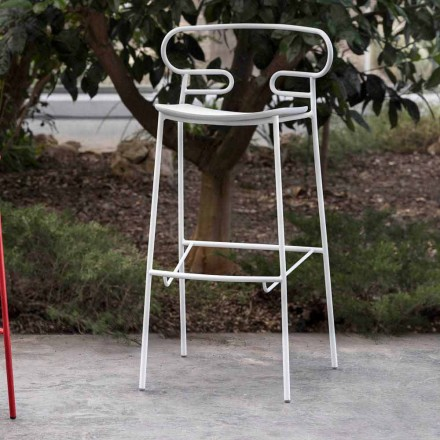 Venkovní stolička z lakovaného kovu a polyuretanu vyrobená v Itálii - Trosa