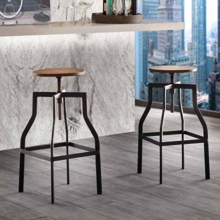 Livorno moderní designová stolička z kovu a dřeva nastavitelná