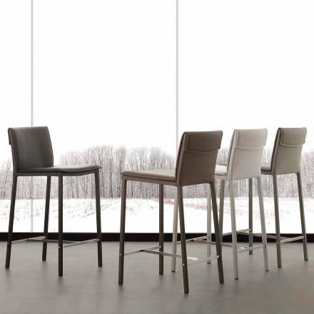 Umělá kožená stolička s kovovou základnou a saténovou ocel Prato