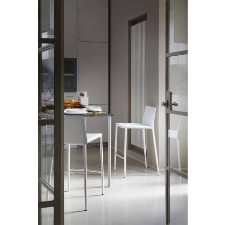Moderní barová nebo kuchyňská stolička z kovu a lepené kůže - Boheme