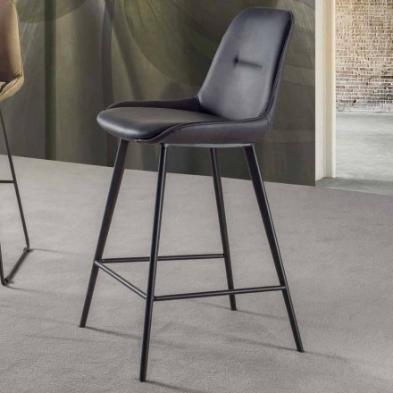 Moderní stolička H 80 cm, sedák z eko-kůže Nabuk - Ines