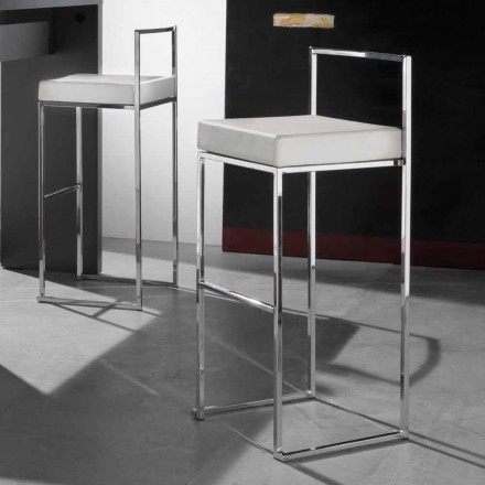 Moderní pevná stolička z eko-kůže, s opěrkou pro nohy - Alina