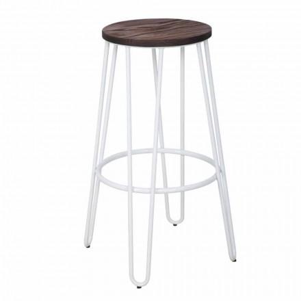 Průmyslová stolička moderního designu ze dřeva a železa, 2 kusy - Belia