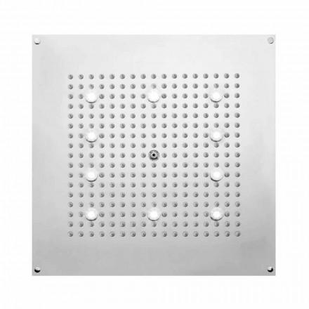 Čtvercová sprchová hlavice sprchový kout s dešťovou sprchou a LED svítidly Bossini
