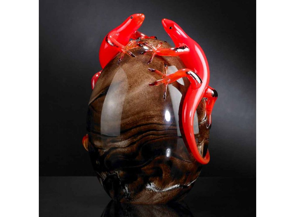 Barevný skleněný ornament ve tvaru vejce s gekony vyrobenými v Itálii - Huevo