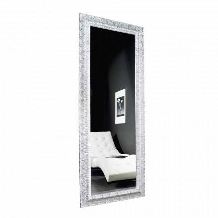 Stříbrné nástěnné zrcadlo, moderní zlaté dřevo vyrobené v Itálii Teodoro