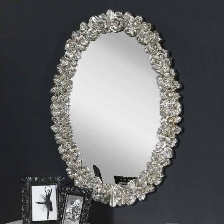 Moderní ručně vyráběné dřevěné nástěnné zrcadlo vyrobené v Itálii Filippo