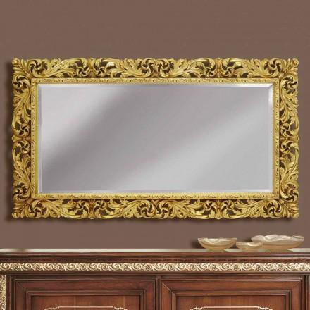 Dřevěné nástěnné zrcadlo s moderní linie ručně vyráběné v Itálii Alex