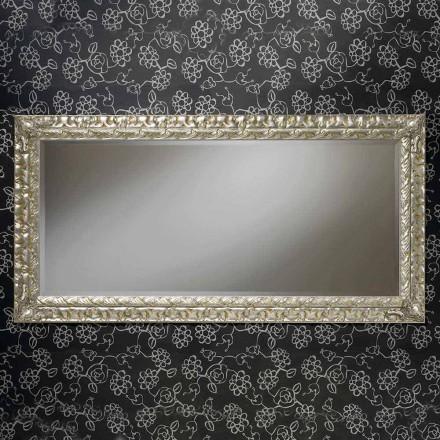 Ručně vyráběné obdélníkové dřevěné nástěnné zrcadlo vyrobené v Itálii Nicolò