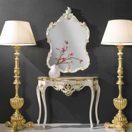 Dřevěné nástěnné zrcadlo, konzole, mdf top vyrobené v Itálii Gianluca