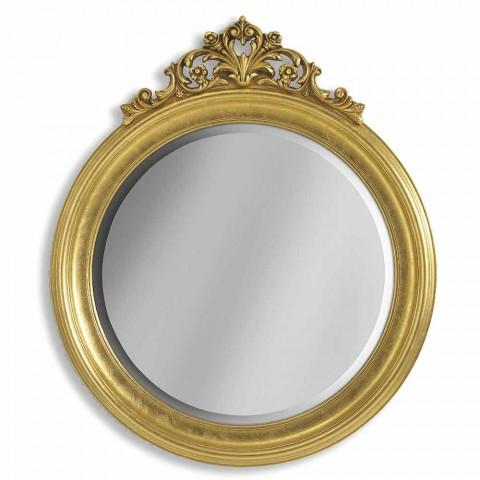 Jedle dřevěné nástěnné zrcadlo, ručně vyráběná italská Elia pryskyřice vlys