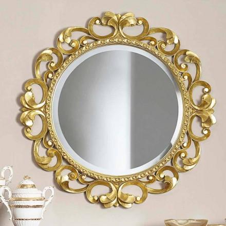 Ručně vyráběné dřevěné nástěnné zrcadlo vyrobené v Itálii Riccardem