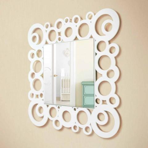 Bílý čtverec nástěnné zrcadlo moderní design s dřevěnými dekoracemi - bublina