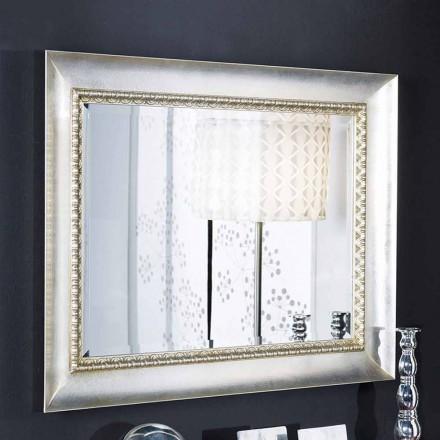 Ručně vyráběné italské obdélníkové nástěnné zrcadlo ze dřeva Igor