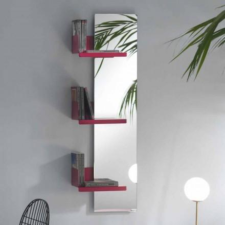 Nástěnné zrcadlo a 3 barevné kovové barevné police - Noelle