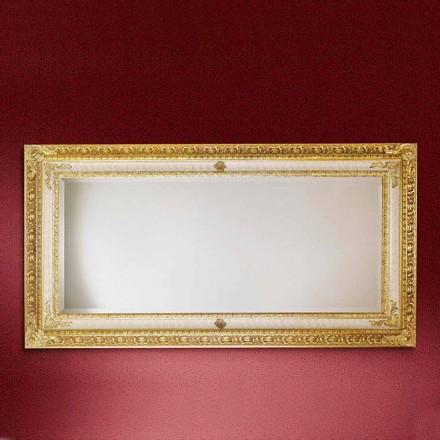 Obdélníkové dřevěné nástěnné zrcadlo vyrobené v Itálii Raphael