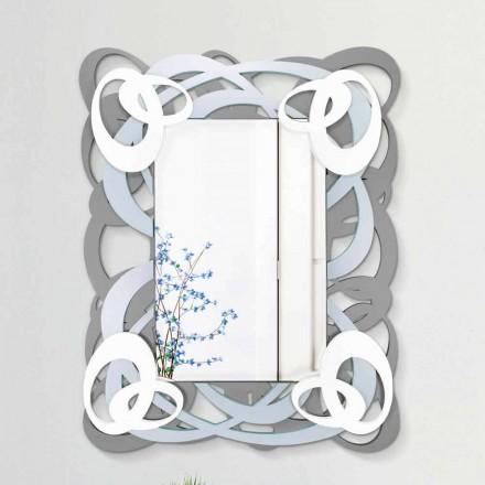 Moderní obdélníkové barevné nástěnné zrcadlo ve dřevě - Amalga