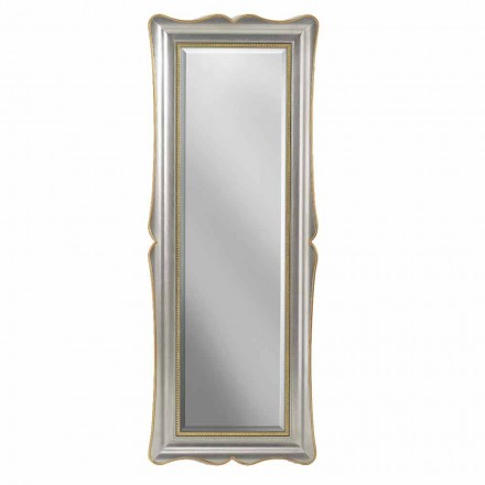 Stříbrné, slonovinové a zlaté dřevěné zrcadlo vyrobené v Itálii Vittorio