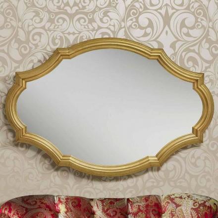 Moderní stříbrné nebo zlaté nástěnné zrcadlo ze dřeva vyrobené v Itálii Davide