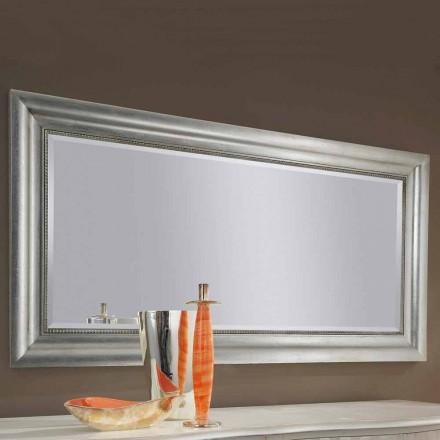 Stříbrné nástěnné zrcadlo, zlaté dřevo ručně vyrobené v Itálii Alessandro