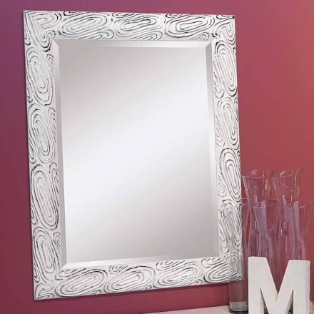Zlaté, bílé a stříbrné nástěnné zrcadlo ze dřeva Eugenio vyrobené v Itálii