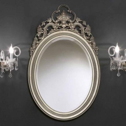 Stříbrné oválné nástěnné zrcadlo, ručně vyráběné zlato vyrobené v Itálii Giorgio