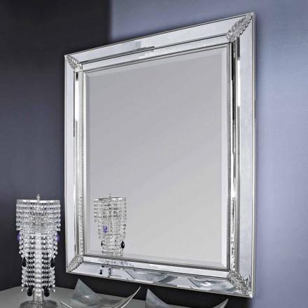 Stříbrné nástěnné zrcadlo, zlaté dřevěné ručně vyrobené v Itálii Samuele