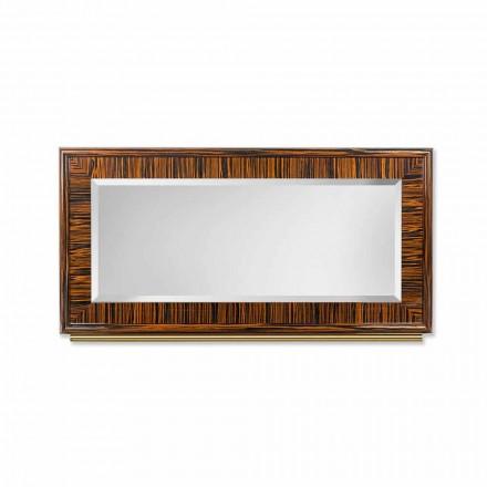 Zkosené zrcadlo ze stěny leštěného ebenu a kovu Ada 1