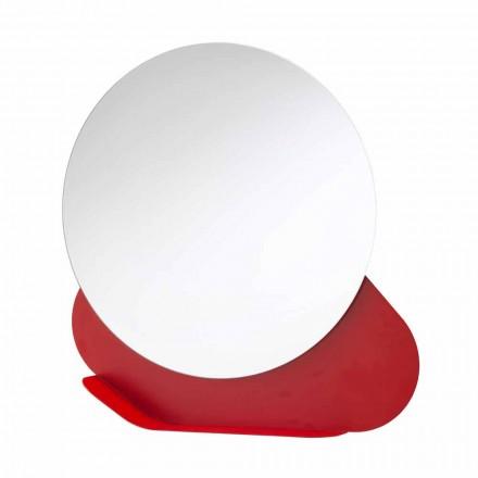 Nástěnné zrcadlo s kovovou policí v různých barvách vyrobené v Itálii - Hera