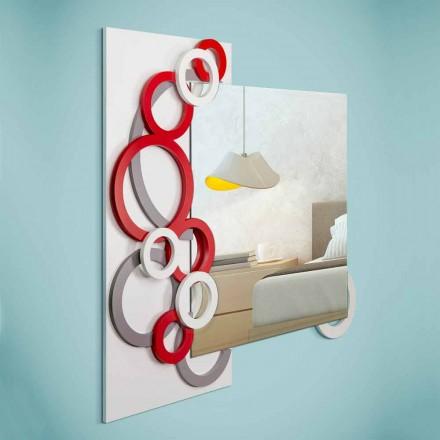 Nástěnné zrcadlo s moderním designem, bílá, červená, šedá ve dřevě - iluze
