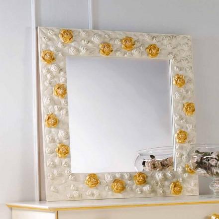 Mirror designer stěnu zdobí růže květ