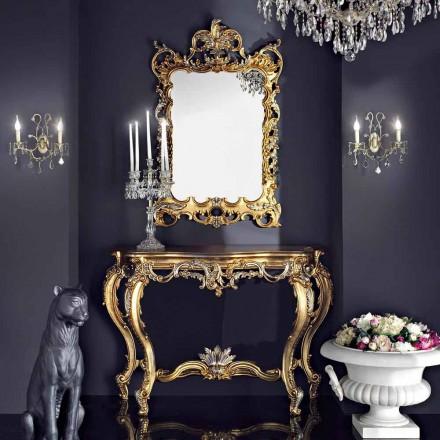 Dřevěné nástěnné zrcadlo a mdf vyrobené v Itálii Andrea konzole stolu