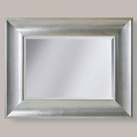 Zlato, stříbrné nástěnné zrcadlo v ayous z italského dřeva Silvio