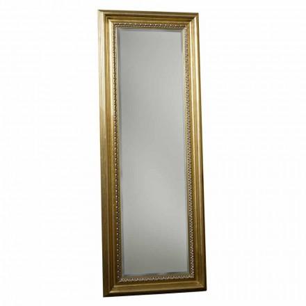 Dřevěné podlahové zrcadlo s ručně vyráběným podstavcem z Itálie Leonardo