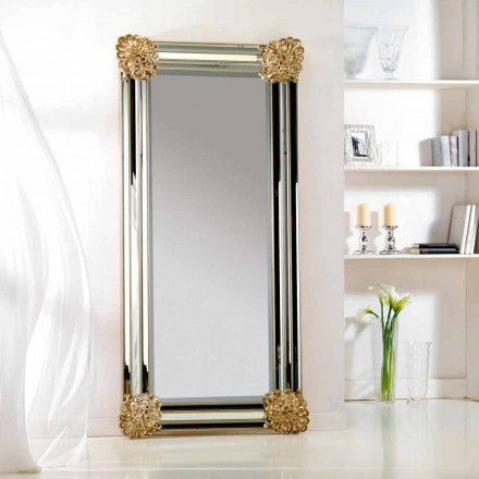Zrcadlo podlaha / stěna design, rám Luti dřevo, 96x196 cm