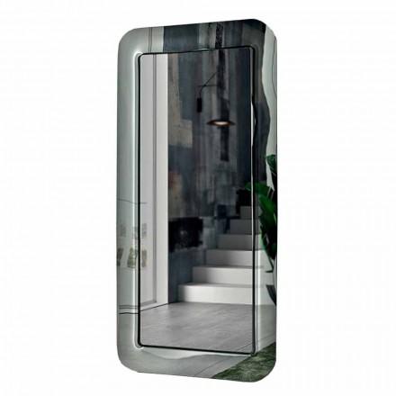 Dlouhé obdélníkové zrcadlo s rámečkem z křišťálového efektu vyrobené v Itálii - smyčka
