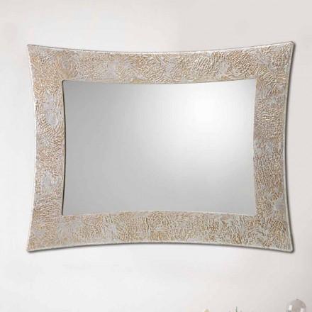 Nástěnné zrcadlo v pryskyřici a benátské stříbrné listy