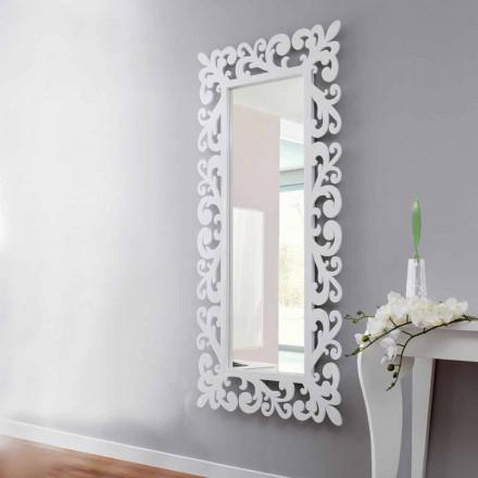 Velké obdélníkové nástěnné zrcadlo v moderním bílém lese - Cortese