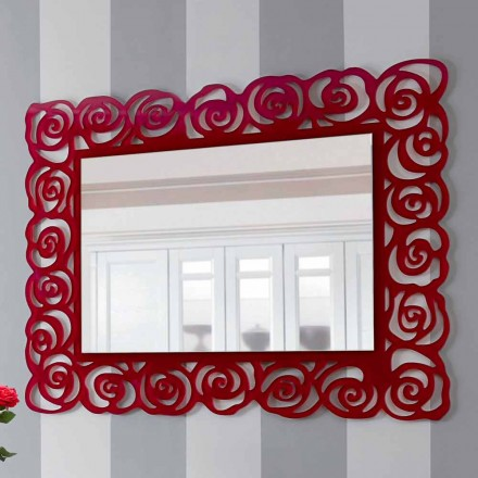 Velké moderní nástěnné zrcadlo v červeném plexiskle - Rosalinda
