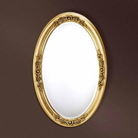 Moderní oválné dřevěné zrcadlo ručně vyráběné v Itálii Federico