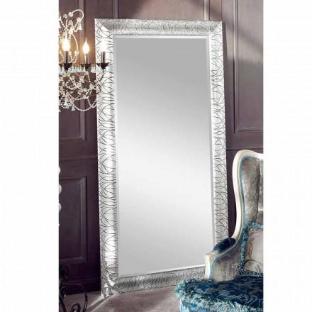 Obdélníkové nástěnné zrcadlo z jedle ze dřeva vyrobené v Itálii Achille